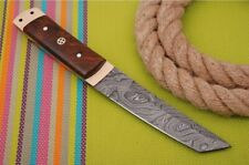 CUSTOM HAND FORGED DAMASCUS Steel Hunting Tanto Knife W/Rose Wood& Copper Handle