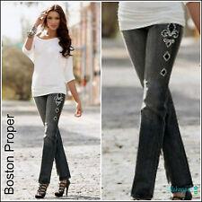 BOSTON PROPER Fleur-de-Lis Embellished Studded Skinny Black Jeans $119 NEW 4