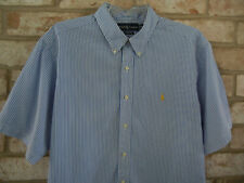 POLO Ralph Lauren mens XXL Classic Fit BLUE stipe cotton shortsleeve Shirt