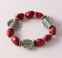 Red Antiqued Silver Tone Faux Turquoise Nugget Boho Bohemian Stretch Bracelet