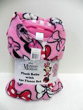 NWT Disney's Licensed 3-Piece Plush Robe & Fleece Pajama Set, Minnie Mouse 10 L