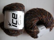 Winter wool blend yarn by Ice Yarns, heather brown, lot of 2, (165 yds each)