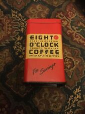 "Eight O'Clock Coffee 4"" Vintage Red Tin Coin Bank"