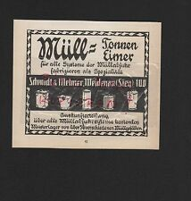 WEIDENAU SIEG, Werbung 1911, Schmidt & Melmer Müll-Tonnen