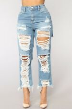 Lovely Chic Broken Holes Baby Blue Distressed Denim Zipped Jeans