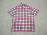 Tommy Bahama Button Up Shirt Adult Large Red Pink Plaid Casual Camp Mens