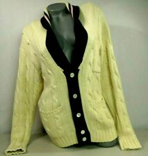 Ralph Lauren Vintage Sweater Cream Black Trim Wool Winter Cardigan Womens Sz M