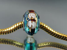 FABERGE EGG TEAL SNOWMAN FUN BEAD FOR EUROPEAN STYLE CHARM BRACELETS  (FAB 072)