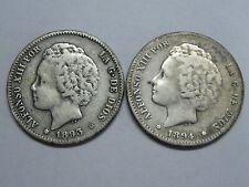 SPAIN 1893 1894 ESPAÑA 1 PESETA ALFONSO XIII LOT 2 SILVER COINS GENUINE
