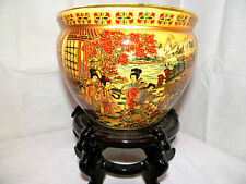 "NEW 6"" ORIENTAL GEISHA WATER FISH BOWL JARDINIERE PLANTER PLANT POT DECORATION"