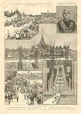 Australia, Visit Of H.M.S. Nelson To Melbourne, Vintage 1887 Antique Art Print