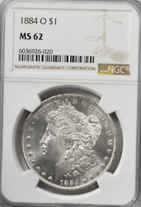 1884 O $1 Morgan Silver One Dollar New Orleans NGC MS62 Uncirculated