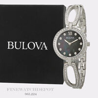 Authentic Bulova Women's Crystal Collection Analog Mother of Pearl Watch 96L224