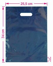 300 BOLSAS tienda 25,5x34 cm color azul oscuro opacas con fuelle y asa