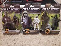 GI JOE The Rise Of Cobra SNAKE EYES Set of 3 PARIS, ARCTIC, CITY STRIKE ON CARD!