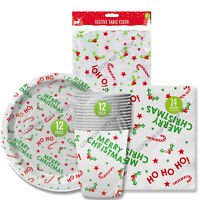 Christmas Festive Party Tableware Paper Plates Cups Napkins Plastic Table Cover