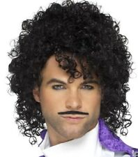 80s 1980s Purple Musician Prince Fancy Dress Wig & Tash Set by Smiffys