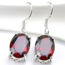 Classical Oval Shaped Natural Red Fire Garnet Gemstone Silver Dangle Earrings