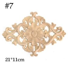 Floral Woodcarving Appliques Wood Carved Decal Wooden Figurines Frame Wall Decor