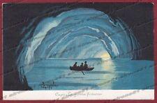 NAPOLI CAPRI 21 disegno di COPPOLA Cartolina viaggiata 1910