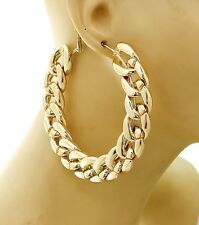 New Women Fashion Gold Chain Hoop Earrings 3.5 inches