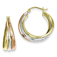 925 Sterling Silver & Yellow & Rose Vermeil Polished Hinged Post Hoop Earrings