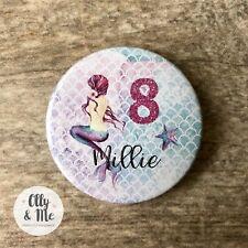 Beautiful Personalised ANY Name/Age Cute Mermaid Birthday Badge Party Boy/Girl