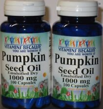 2 x Pumpkin Seed Oil 1000 mg 200 Capsules total -  Prostate Health