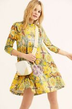 Free People Yellow Fiesta Floral Retro Swing Dress size M / UK 12 NEW