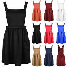 Womens Ladies Sleeveless Strappy Cross Back Pockets Skater Flared Mini Dress