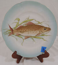 Vintage FISH PATTERN by Carlsbad Scalloped Blue Gold Trim Embossed Salad Plate B