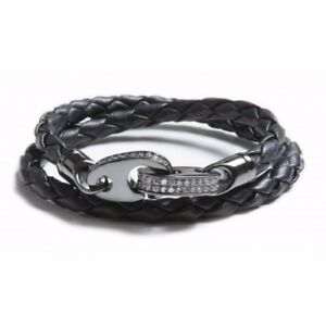 SailorMade Luster Double Wrap Bracelet in Leather CZs & Rhodium Plated - Medium