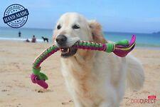 Dog Tug Toy RAINBOW Fleece Tug & Chase Rope Handmade Puppy Toys DogDirect London