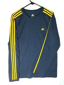 Adidas Mens Climalite Navy Blue/Yellow Jersey Long Sleeve Shirt Size Large L