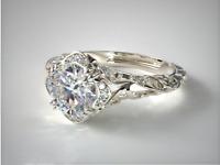 2.00Ct Round VVS1 Diamond Halo Brilliant Engagement Ring 14K White Gold Finish