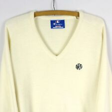 Vintage Champion Vneck Sweater RARE Ivory XL USA MADE National Rifle Association