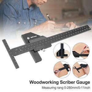 Multifunctional Woodworking Scriber Gauge Aluminum T Type Measuring Ruler 28cm