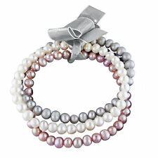 Amour Multi-Color Freshwater Cultured Pearl Set of Three Elastic Bracelets
