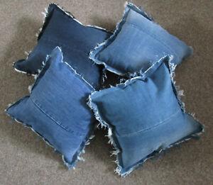 4er Set   Dekokissen  Jeans Kissen  ca 38 cm x38cm blau mit Fransen  /