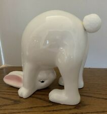White Ceramic Bunny Standing on His Head Cotton Tail Easter Collectable Decor