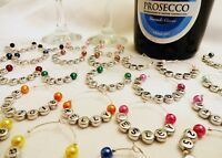 Wedding wine glass charms top table personalised name date favours all colours
