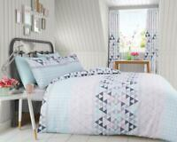 GEOMETRIC STYLE QUILT DUVET COVER Pink Bedding Set & Pillow Case 100% Polyester
