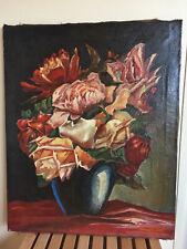 tableau ancien huile sur toile M.MENEZ 1935 (XXe-s) nature morte