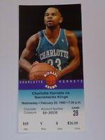 Charlotte Hornets Sacramento Kings Michael Adams Old Ticket Stub Feb 22 1995 #8