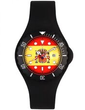 ToyWatch Unisex Spanish flag Dial Black Rubber Strap Quartz Watch JYF07SP