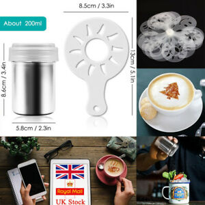 UK Stainless Steel Chocolate Shaker Sprinkler Stencils Cappuccino Coffee Sifter