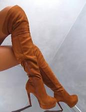Women Suede Knee-high Boots Stiletto High Heels Round Toe Platform Shoes Zipper