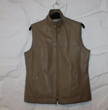 Beige Look Leather WISSMACH COLLECTION Zip Fitted Hip Length Waistcoat Size S