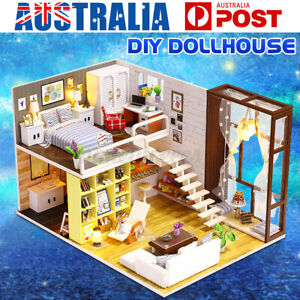 DIY Miniature Wooden Doll House 3D Mini Dollhouse With Furniture LED Light Kits
