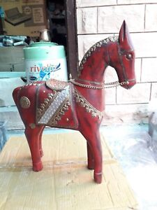 Wooden Horse Vintage Old Collectible Brass Fitted Statue Home Decor Indian Art